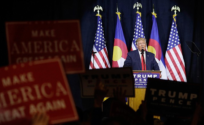 Republican presidential candidate Donald Trump speaks at a rally Monday, Oct. 3, in Pueblo, Colo. Trump is expected at a rally today in Prescott Valley.