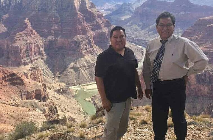 Navajo Nation President Russell Begaye (right) poses at the Confluence with an unidentified person on Tuesday, Sept. 13. Photo courtesy of Mihio Manus, spokesperson for the president's office.