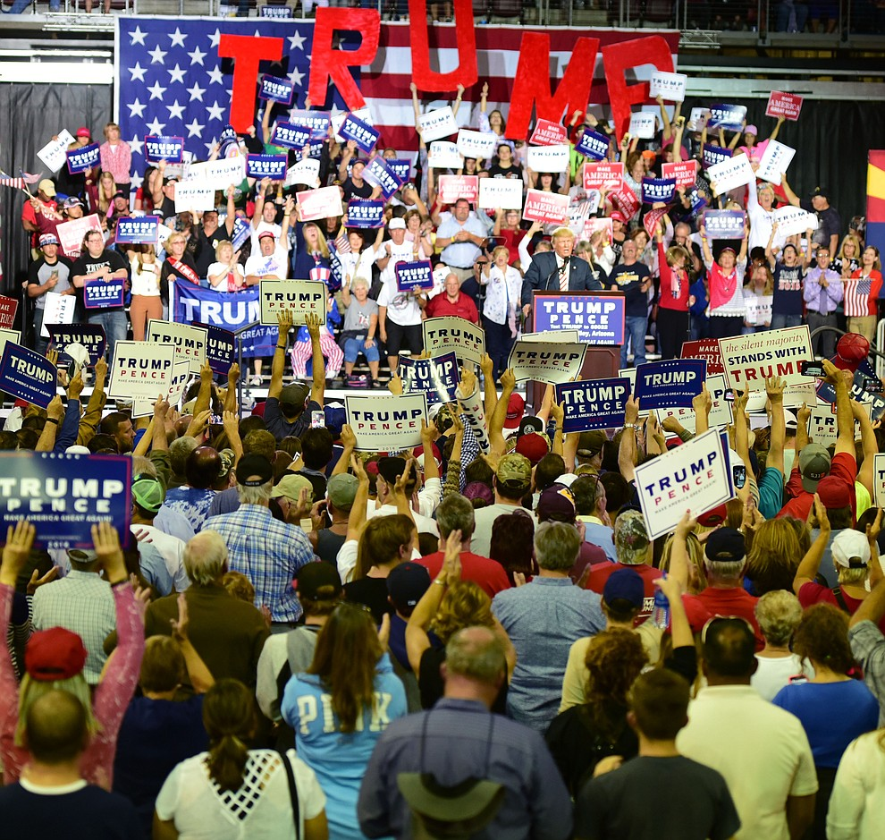 A sellout crowd cheers for Donald Trump at his rally in the Prescott Valley Event Center Tuesday, October 4, 2016. (Les Stukenberg/The Daily Courier)