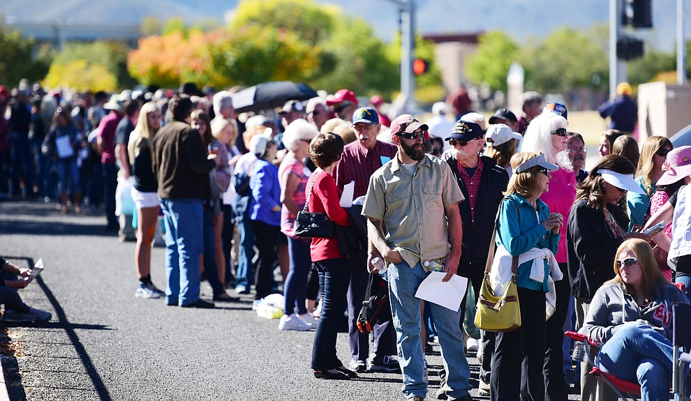 Crowds gather early at the Donald Trump for President Rally in the Prescott Valley Event Center Tuesday, October 4, 2016. (Les Stukenberg/The Daily Courier)