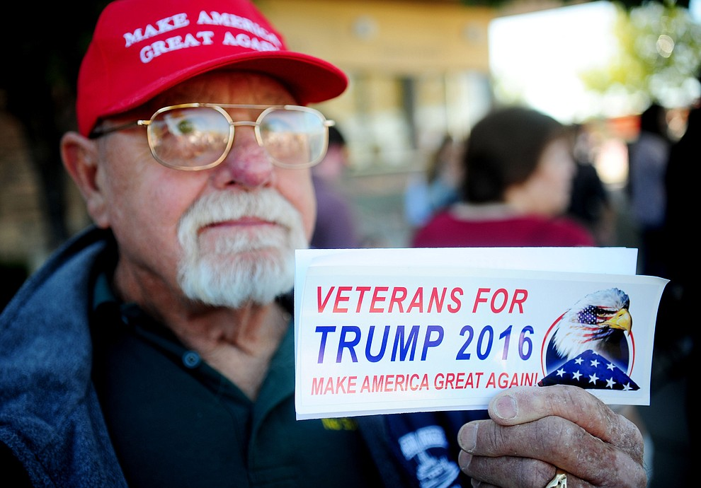 Richard Jenkins traveled from Glendale, CA for the Donald Trump for President Rally in the Prescott Valley Event Center Tuesday, October 4, 2016. (Les Stukenberg/The Daily Courier)