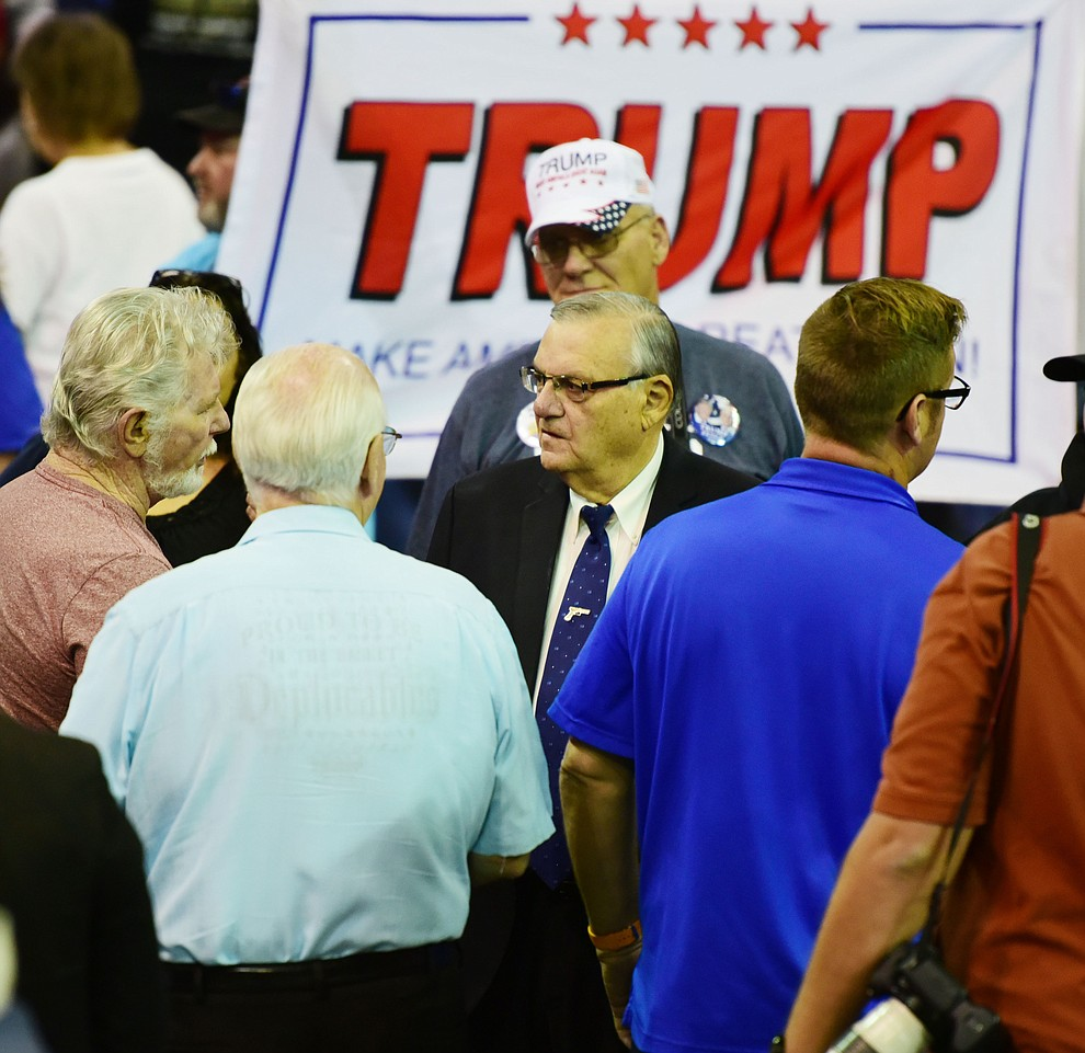Maricopa County Sheriff Joe Arpaio works the crowd at the Donald Trump for President Rally in the Prescott Valley Event Center Tuesday, October 4, 2016. (Les Stukenberg/The Daily Courier)