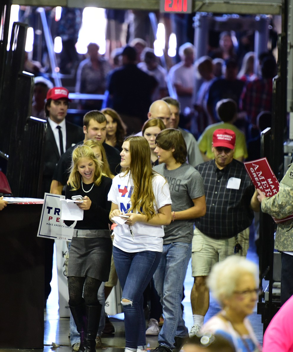 People enter the arena at the Donald Trump for President Rally in the Prescott Valley Event Center Tuesday, October 4, 2016. (Les Stukenberg/The Daily Courier)