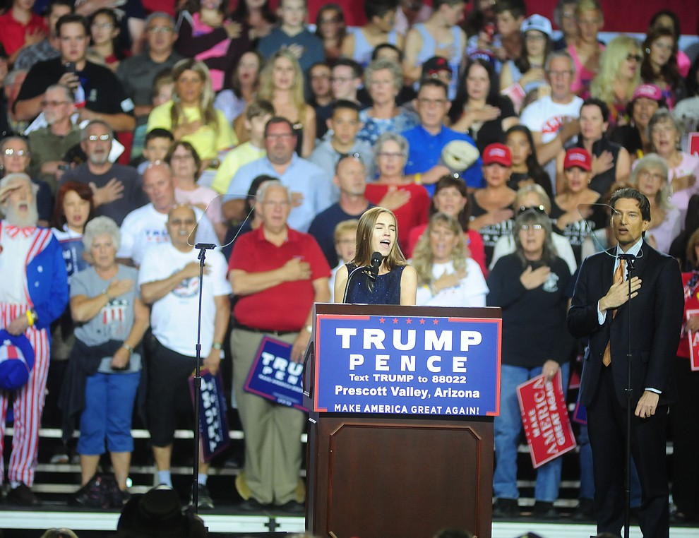 The National Anthem is sung at the Donald Trump for President Rally in the Prescott Valley Event Center Tuesday, October 4, 2016. (Les Stukenberg/The Daily Courier)