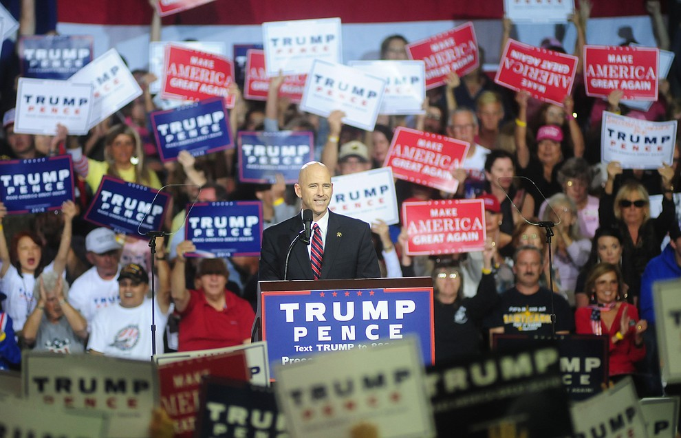 Pinal County Sheriff Paul Babeu speaks at the Donald Trump for President Rally in the Prescott Valley Event Center Tuesday, October 4, 2016. (Les Stukenberg/The Daily Courier)