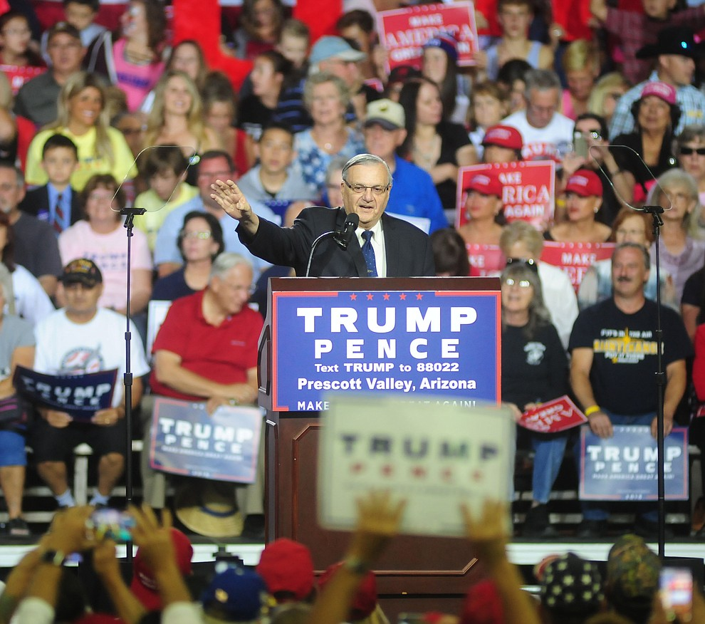 Maricopa County Sheriff Joe Arpaio speaks at the Donald Trump for President Rally in the Prescott Valley Event Center Tuesday, October 4, 2016. (Les Stukenberg/The Daily Courier)