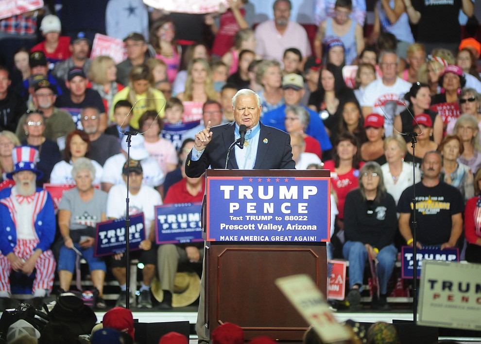 Medal of Honor recipient Michael E. Thornton introduces Donald Trump at the Trump for President Rally in the Prescott Valley Event Center Tuesday, October 4, 2016. (Les Stukenberg/The Daily Courier)