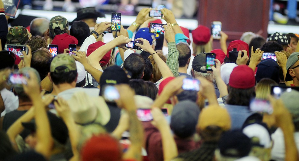 Social media was in full force at the Donald Trump for President Rally in the Prescott Valley Event Center Tuesday, October 4, 2016. (Les Stukenberg/The Daily Courier)