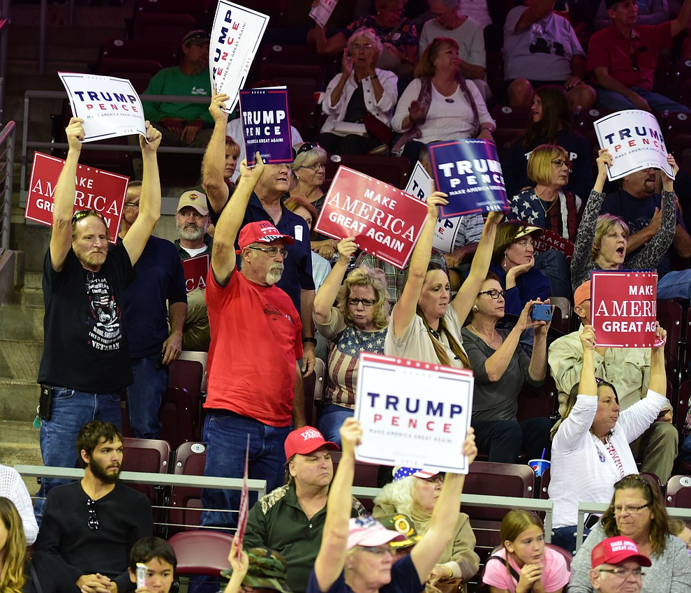 Supporters cheer at the Donald Trump for President Rally in the Prescott Valley Event Center Tuesday, October 4, 2016. (Les Stukenberg/The Daily Courier)