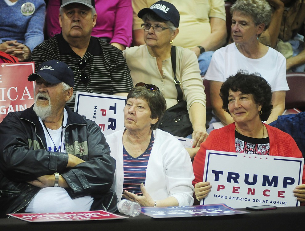 Supporters listen at the Donald Trump for President Rally in the Prescott Valley Event Center Tuesday, October 4, 2016. (Les Stukenberg/The Daily Courier)