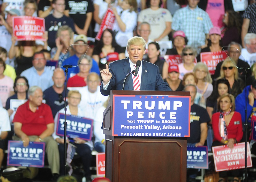 Donald Trump speaks at the Trump for President Rally in the Prescott Valley Event Center Tuesday, October 4, 2016. (Les Stukenberg/The Daily Courier)