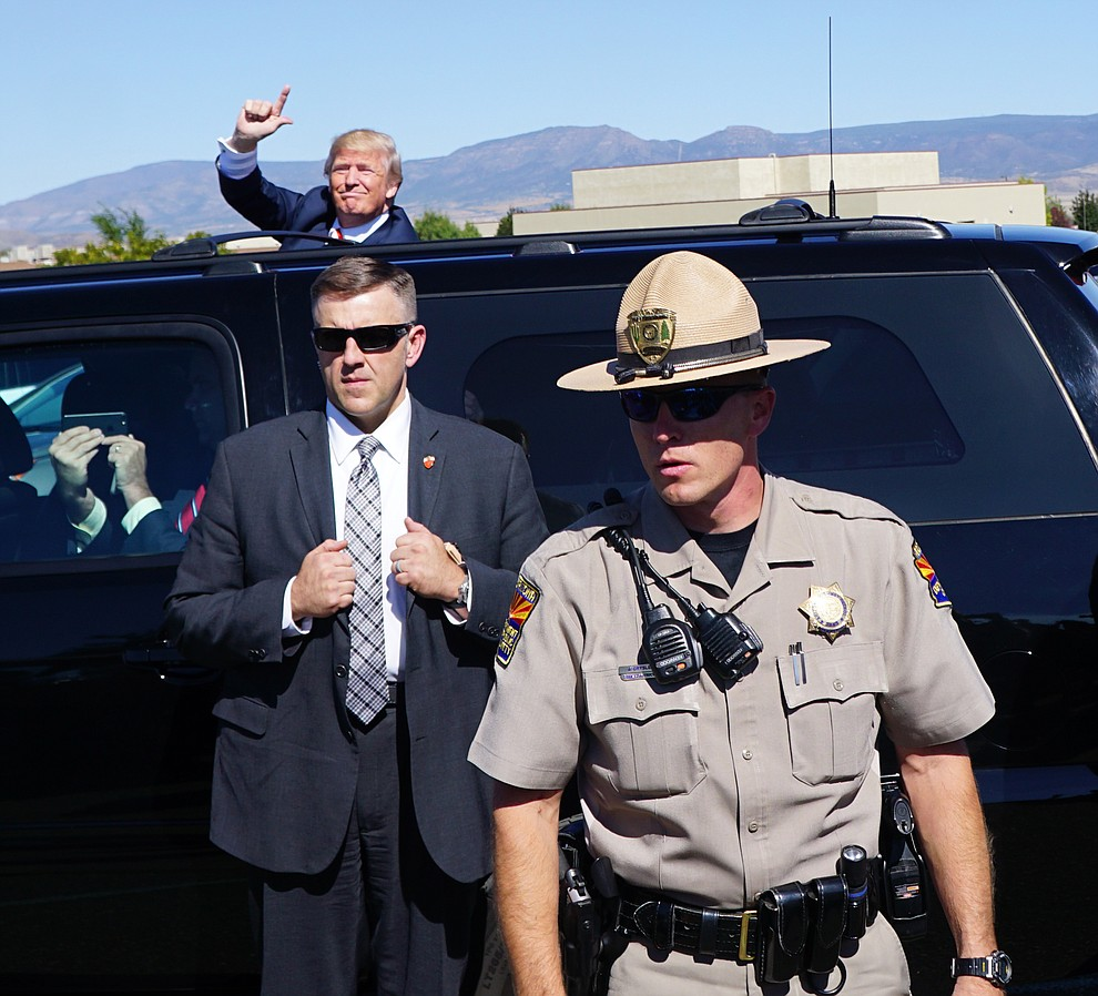 Donald Trump arrives at the Donald Trump for President Rally in the Prescott Valley Event Center Tuesday, October 4, 2016.