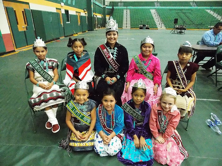 Tuba City High School royalty with the newly crowned Miss Navajo Nation 2016-17, Ronda Joe.  Miss Navajo is surrounded by student royalty while watching some of the live dance performances at the Tuba City High Warrior Pavilion. Photo/Rosanda Suetopka