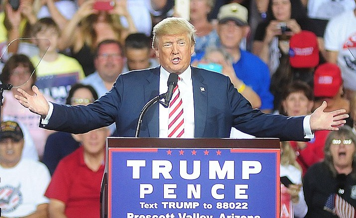 Donald Trump speaks at the Trump for President Rally in the Prescott Valley Arizona Event Center October 4, 2016.