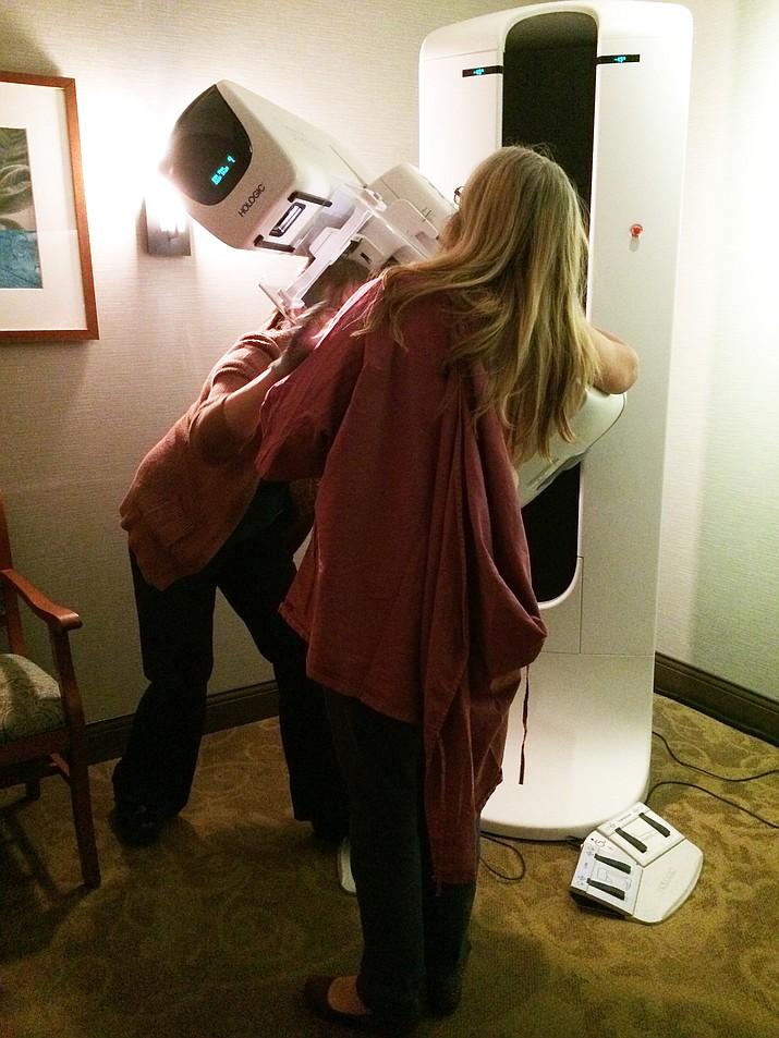 Nanci Hutson gets her mammogram.