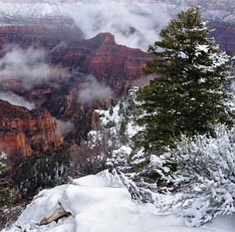 The North Rim covered in snow. Those with backcountry permits can still enter via the North Rim.