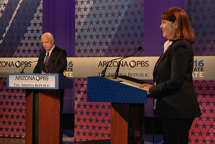 Incumbent John McCain and challenger Ann Kirkpatrick face off Monday at a televised debate.