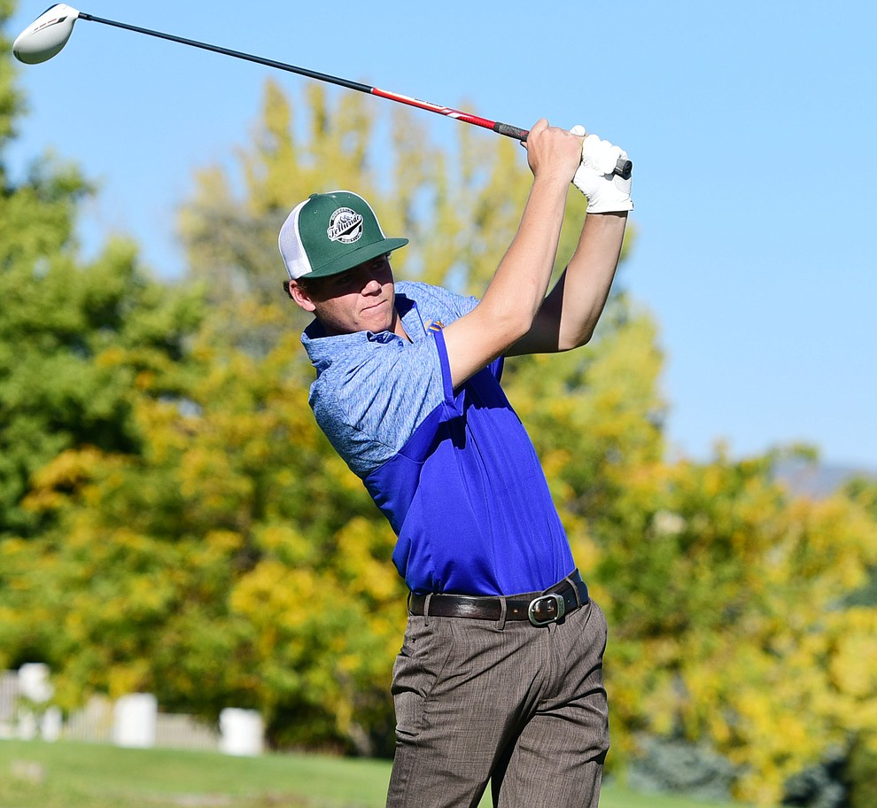 Prescott's Brance Christopherson hits a tee shot in a match against Bradshaw Mountain, Mingus Union and Mohave Academy High Schools Tuesday, October 11, 2017 at Prescott Golf and Country Club. (Les Stukenberg/The Daily Courier)