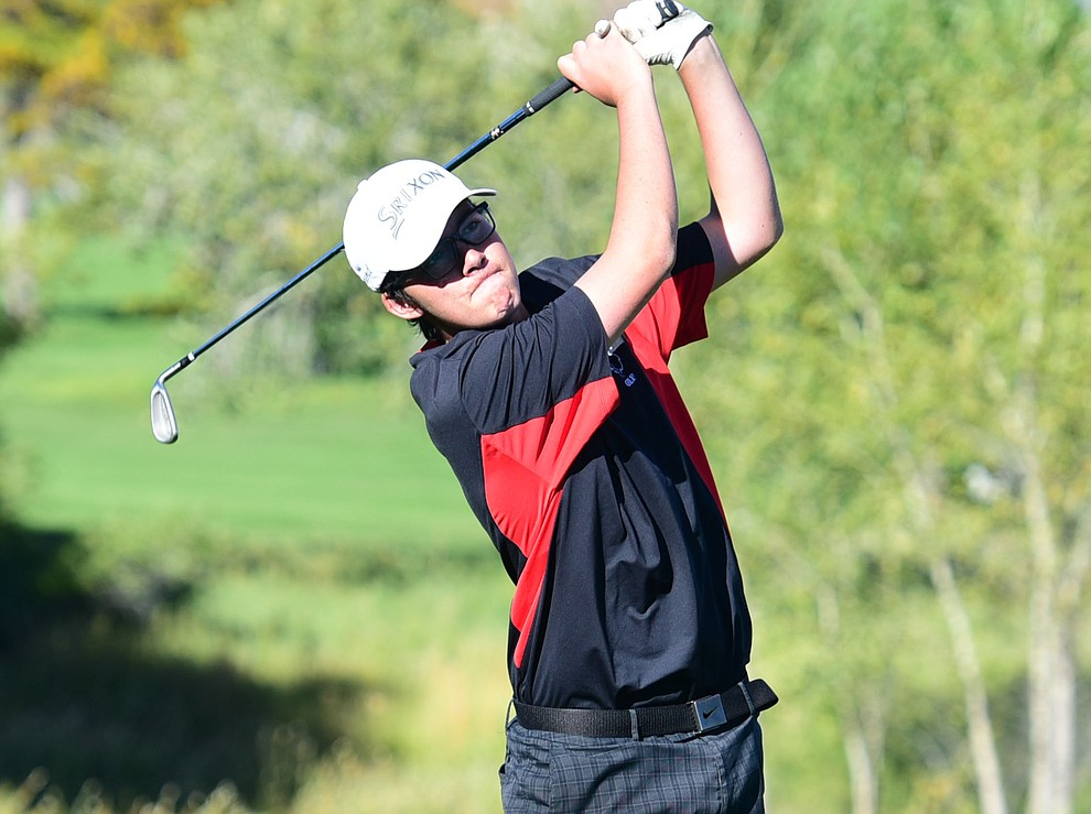 Bradshaw Mountain's #2 Bryce Preston hits an approach shot in a home match against Prescott, Mingus Union and Mohave Academy High Schools Tuesday, October 11, 2017 at Prescott Golf and Country Club. (Les Stukenberg/The Daily Courier)