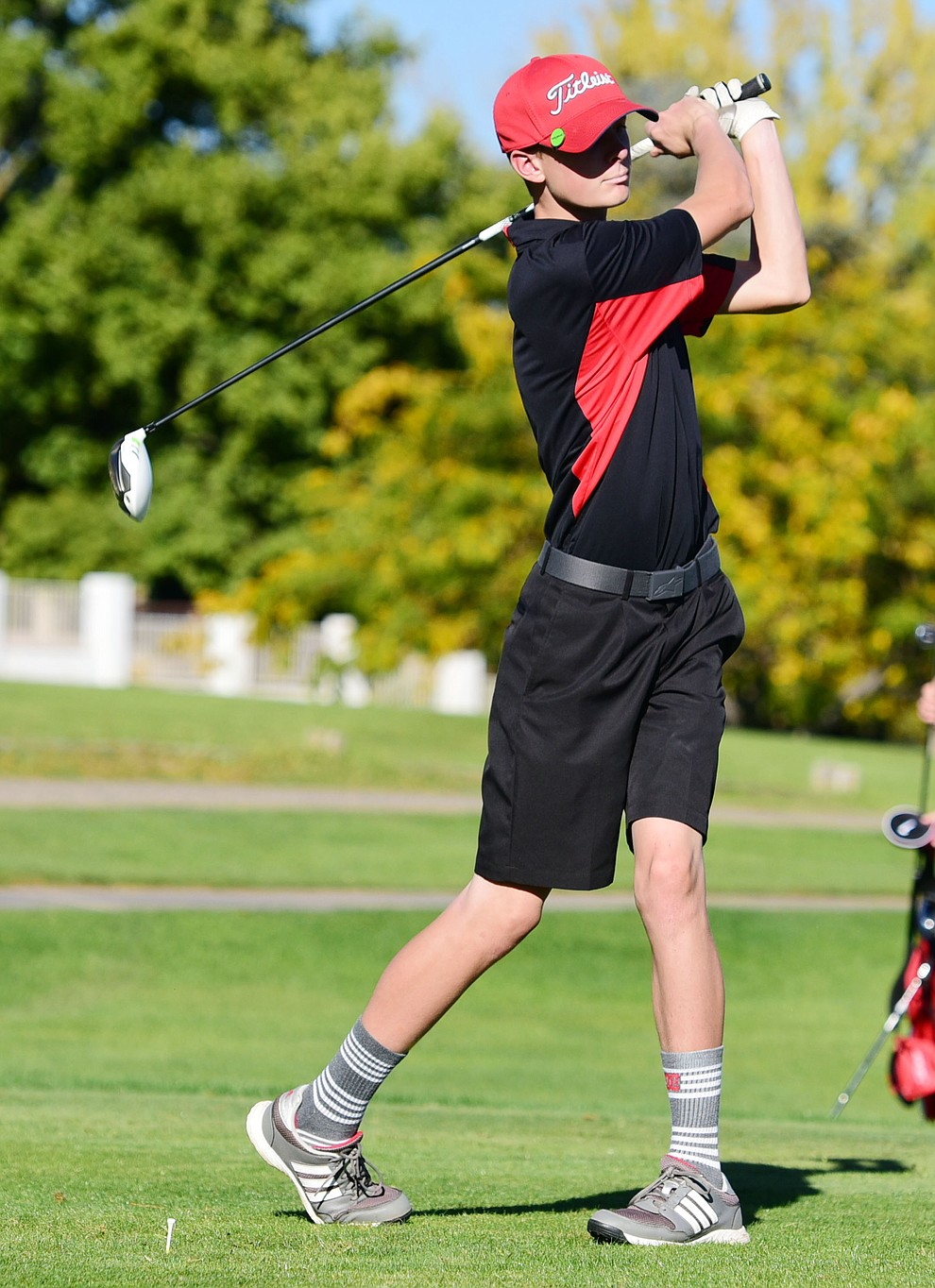 Bradshaw Mountain's #4 Jordan Hill tees off in a home match against Prescott, Mingus Union and Mohave Academy High Schools Tuesday, October 11, 2017 at Prescott Golf and Country Club. (Les Stukenberg/The Daily Courier)