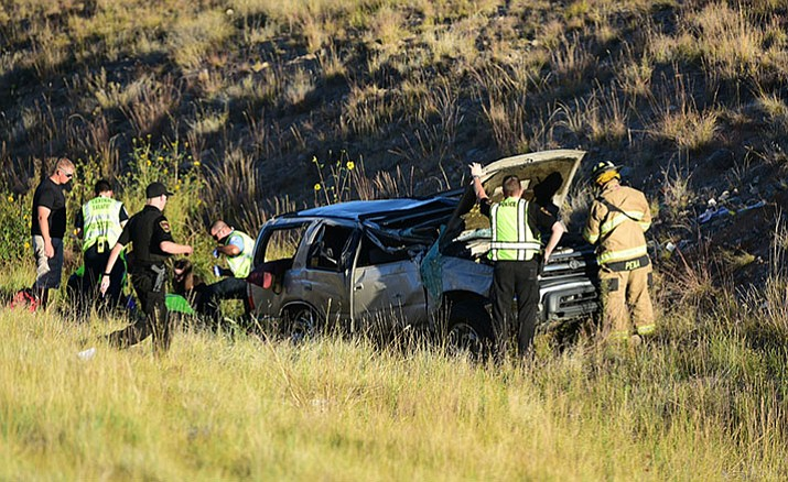 This rollover crash at about 5 p.m. Wednesday, Oct. 12, in north Prescott Valley has brought eastbound Highway 89A traffic to a standstill.