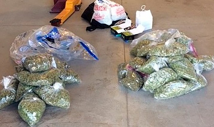 YCSO seized 38 pounds of pot and 12 pounds of marijuana edibles Monday on Interstate 40. Two were arrested.