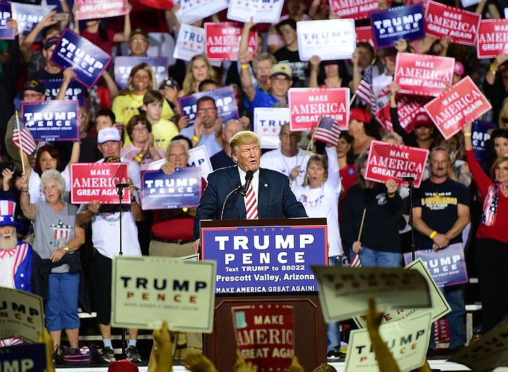 Donald Trump speaks at the 'Trump for President' Rally in the Prescott Valley Event Center on October 4, 2016.