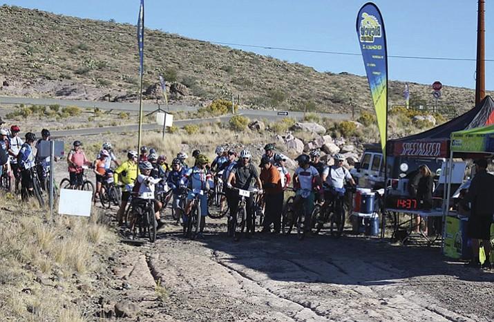 Riders gather at the start line of the 2015 Rattler race at Monolith Gardens.