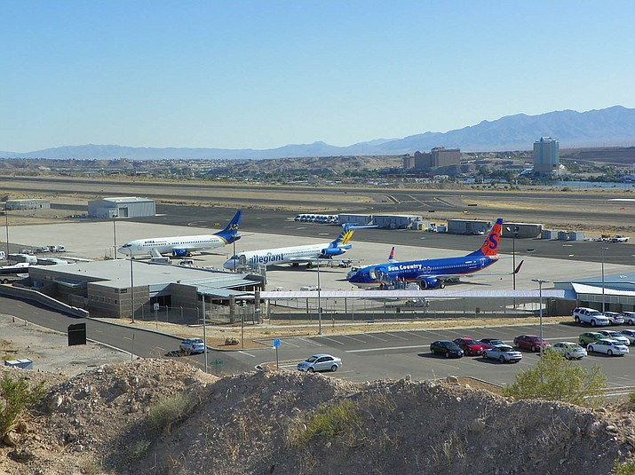 Planes line up at Laughlin/Bullhead International Airport. The new routes between Phoenix Sky Harbor and Laughlin/Bullhead will generate an economic impact of $13 million annually, according to the Mohave County Airport Authority.