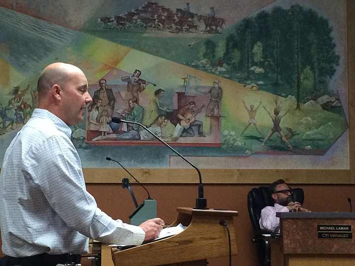 Representing the Greater Prescott Regional Economic Partnership (GPREP), Dane Beck updates the Prescott City Council on the organization's accomplishments.