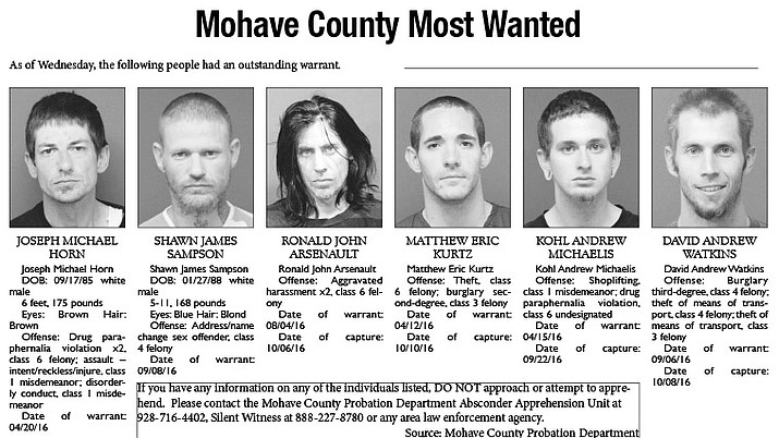 Mohave County's Most Wanted: Oct. 17, 2016