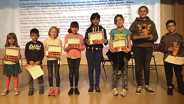 WEMS Students of the Month are recognized with certificates.