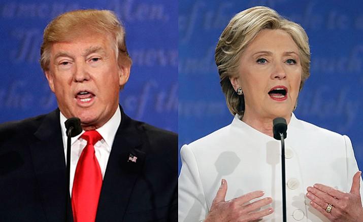 Republican presidential nominee Donald Trump, left, and Democratic presidential nominee Hillary Clinton speak during the third presidential debate at UNLV in Las Vegas, Wednesday, Oct. 19.