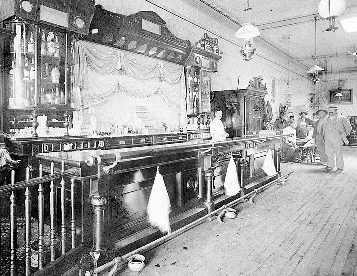 "Interior of the Cabinet Saloon, one of many notorious establishments along Prescott's famous ""Whiskey Row."" The myths and legends surrounding the origins of ""the Row"" will be discussed during a lecture and booksigning by Brad Courtney at Sharlot Hall Museum on Saturday, Oct. 22, beginning at 2 p.m."