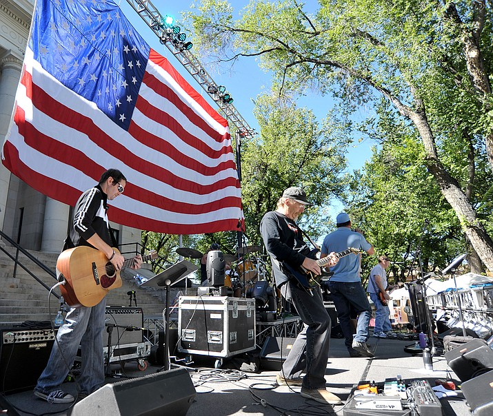 Prescott 10-03-15.Matt Hinshaw/The Daily Courier.Under the Sun band plays on the main stage Saturday morning during the 4th Annual Hope Fest AZ in downtown Prescott.