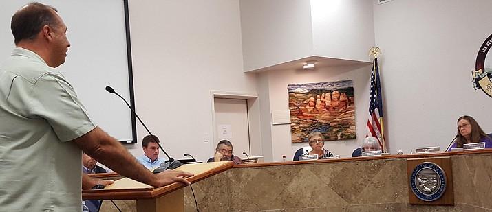Eric Jurisin address City Council Tuesday and explains his position on the location of Thunder Valley Rally. (VVN/Jennifer Kucich)