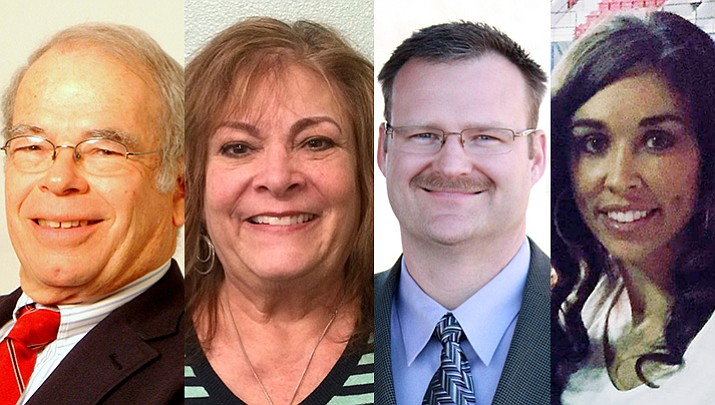 Candidates for the Chino Valley school board are, from left, two incumbents – Governing Board President Peter Atonna and member Sherry Brown – who are being challenged by two newcomers – Robert Bowen and Annie Mortensen.