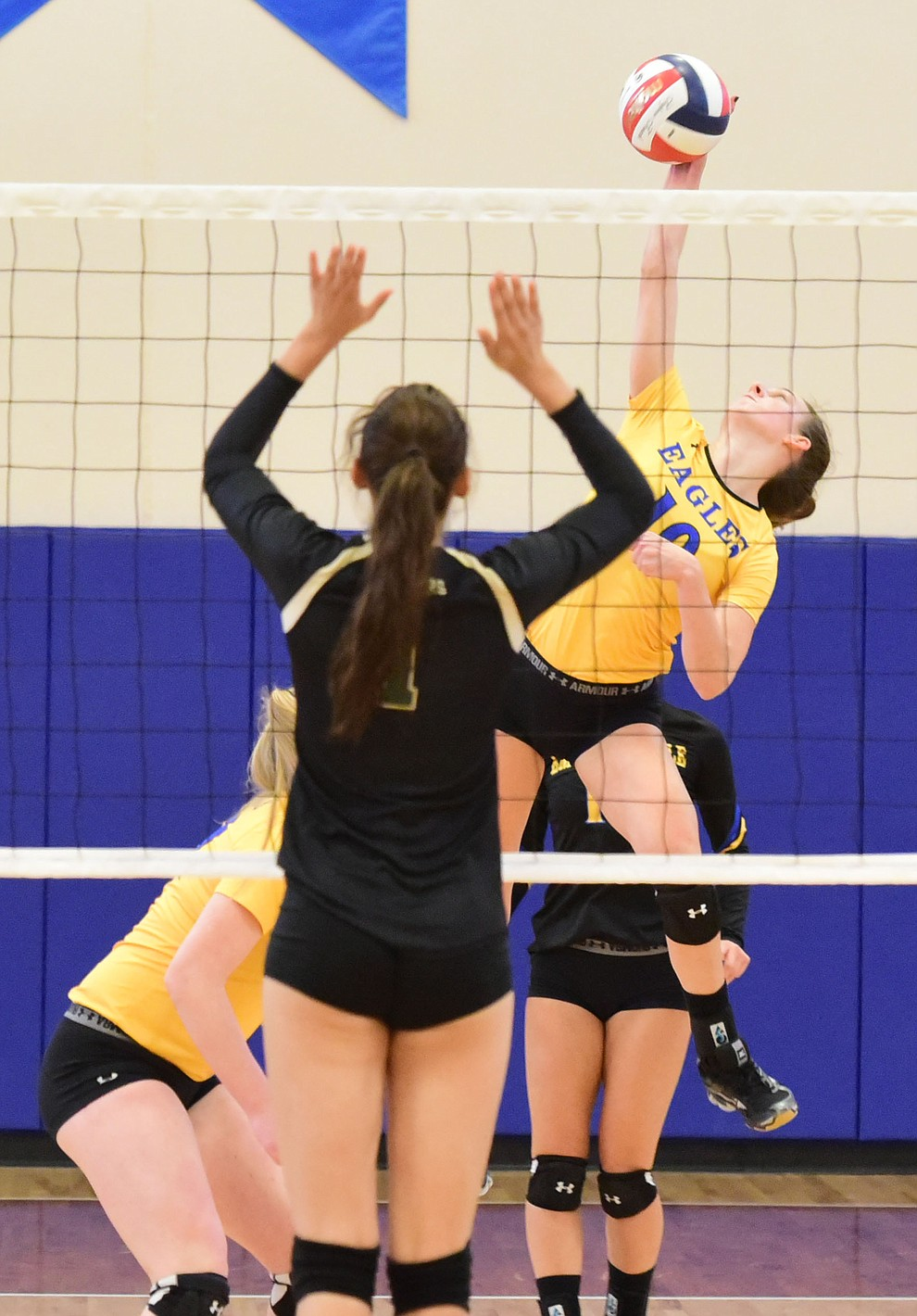 Embry Riddle's Jalin Yoder (10) sends a kill through the middle as the Lady Eagles take on Pacific Union College Friday afternoon in Prescott.