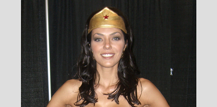 Model and reality TV personality Adrianne Curry dressed as Wonder Woman in Manhattan in 2012.