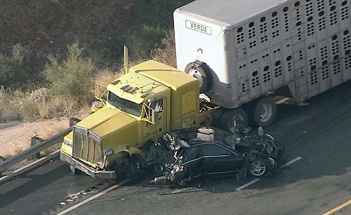 The Verde Livestock Transportation cattle hauler ended up sideswiping and rear-ending 23 vehicles near milemarker 246.