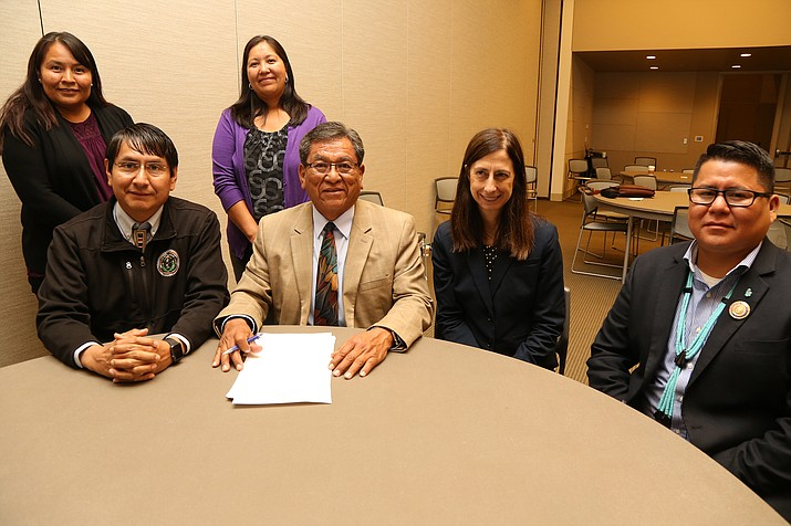 In support of eradicating domestic violence from the Navajo Nation, President Begaye and Vice President Nez signed a proclamation recognizing October as Domestic Violence Awareness Month on the Navajo Nation. Picture from left to right: Terrelene Massey, director of the Navajo Division of Social Services, Vice President Jonathan Nez, Strengthening Family Program Manager Michele Jones, President Russell Begaye, Principal Executive Director of IHS Mary Smith and Council Delegate Nathaniel Brown. Submitted photo