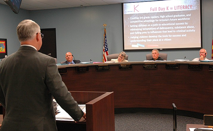 Maricopa County Attorney Bill Montgomery explains to the state Board of Education on Monday what he believes are the benefits of state-funded full-day kindergarten.