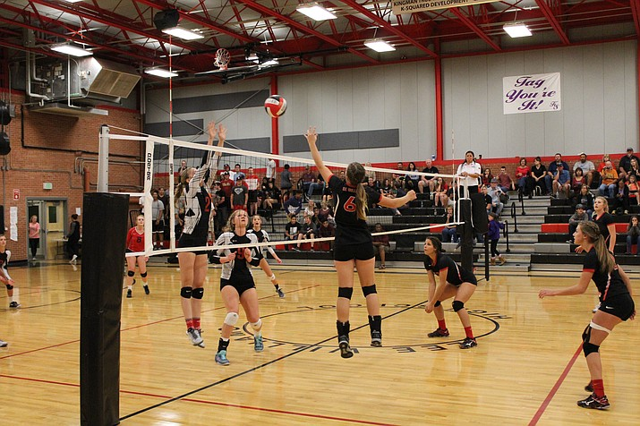 Lee Williams' Tori Logan (6) goes for a tip-kill with Mya Radler, right, looking on during the Lady Vols' loss to Coconino Oct. 6 at LWHS. Logan had nine kills in Tuesday's win over Bradshaw Mountain.