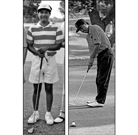 Marty James during his record-setting state championship days at Mingus Union High School (left) and on the links in Prescott today.