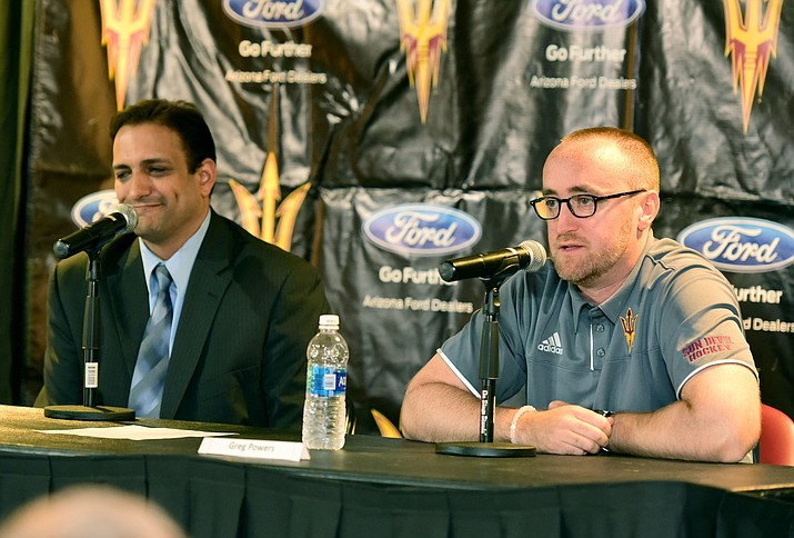 Prescott Valley Event Center business development manager Satish Athelli, left, and Arizona State Sun Devil hockey head coach Greg Powers announce the second annual Desert Hockey Classic will be hosted at the Prescott Valley Event Center on Friday and Saturday, Dec. 30 and 31. The four-team tournament will include the University of Connecticut, Brown University and St. Cloud State. The Sun Devils will play Brown for their first game of the tournament on Friday, Dec. 30 at 7 p.m.  (Les Stukenberg/The Daily Courier)