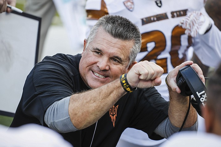 Arizona State head coach Todd Graham coaches on the sidelines against Oregon on Saturday in Eugene, Ore. The Sun Devils lost to the Ducks 53-45.