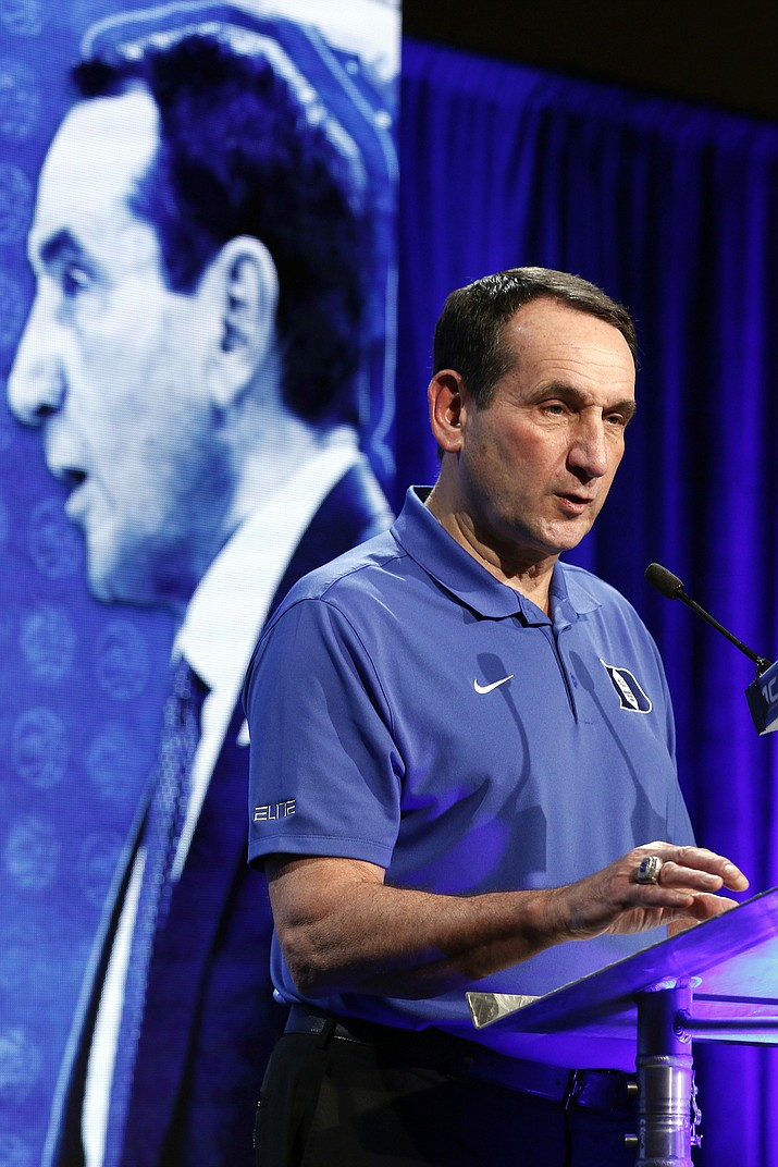 Duke coach Mike Krzyzewski answers a question Oct. 26 during the Atlantic Coast Conference NCAA college basketball men's media day in Charlotte, N.C. Duke is in a familiar place to open the college basketball season. The Blue Devils are the runaway choice for No. 1 in The Associated Press preseason Top 25 on Monday, Oct. 31.