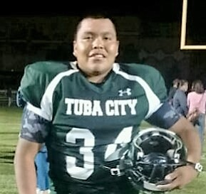 Tyrek Eltsosie, a senior at Tuba City High School, is getting notice from state football organizations for his strong high school football skills. Eltsosie is the son of Darcy Brown and Tyrick Eltsosie and from the Bitterwater clan born for Salt Clan. Photo/Rosanda Suetopka
