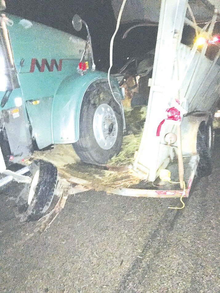 A big rig slammed into the back of Suzy Taylor's livestock trailer Oct. 24, killing a roping horse and a little donkey.