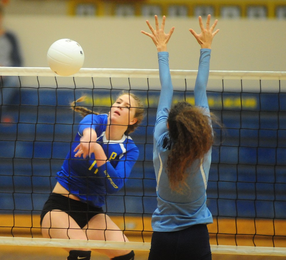 Prescott's Alex Koehler hits a kill down the line as the Lady Badgers take on Pueblo Magnet in the first round of the Arizona Interscholastic Association State Volleyball Tournament in Prescott Wednesday, Nov. 2.